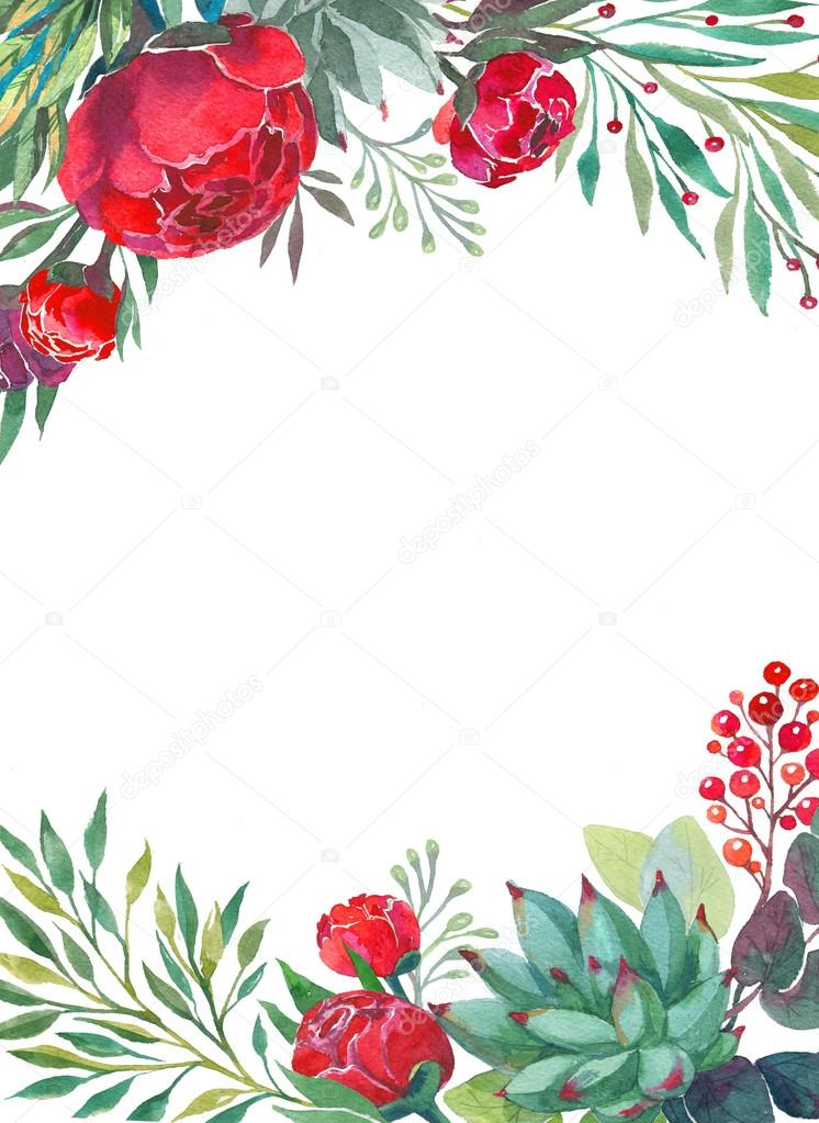 Watercolor flowers frame template. — Stock Photo © shumo4ka #120620848