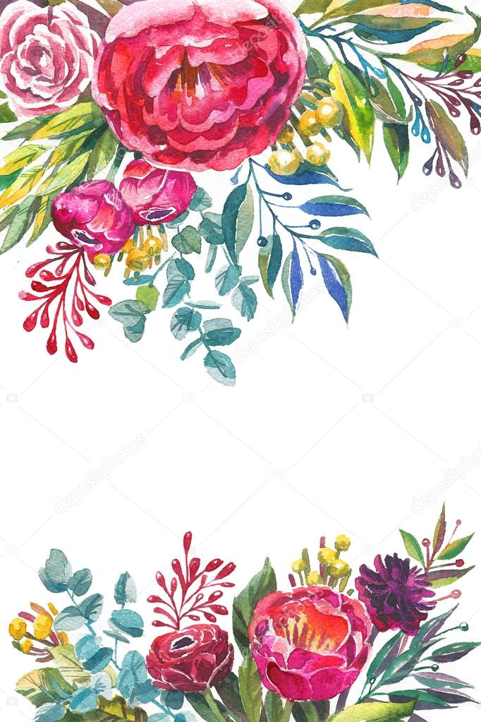 Watercolor flowers frame template. — Stock Photo © shumo4ka #120620900