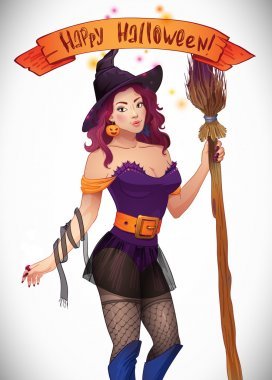Pretty Witch Halloween. Sexy girl with broom and hat. Greeting card,  Web, ribbon, inscription