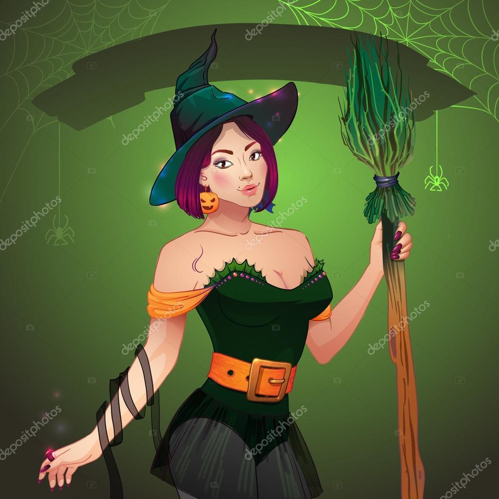 chica halloweensexy guapa bruja con escoba y sombrero tarjeta de