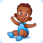 Cute African American baby boy. Happy Child With Open Arms