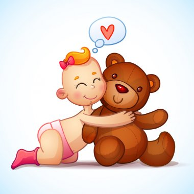 Baby girl redhead hugs Teddy Bear toy on a white background. Teddy plush toy. Little girl lovingly looking at the bear