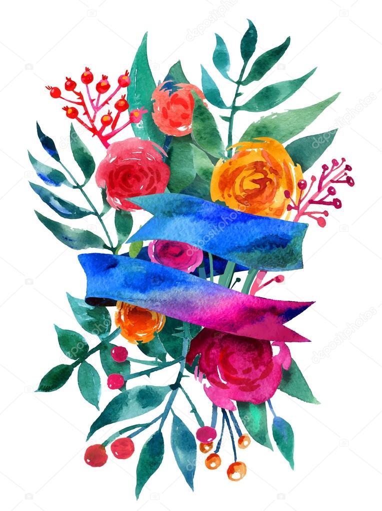 Beautiful Floral Greeting Card. Bright illustration, invitation card
