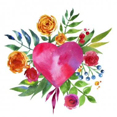 Vintage background with flowers in love and flower heart, Beautiful watercolor floral heart. Love Heart icon. Summer botanical elements.  Love card with watercolor floral bouquet.
