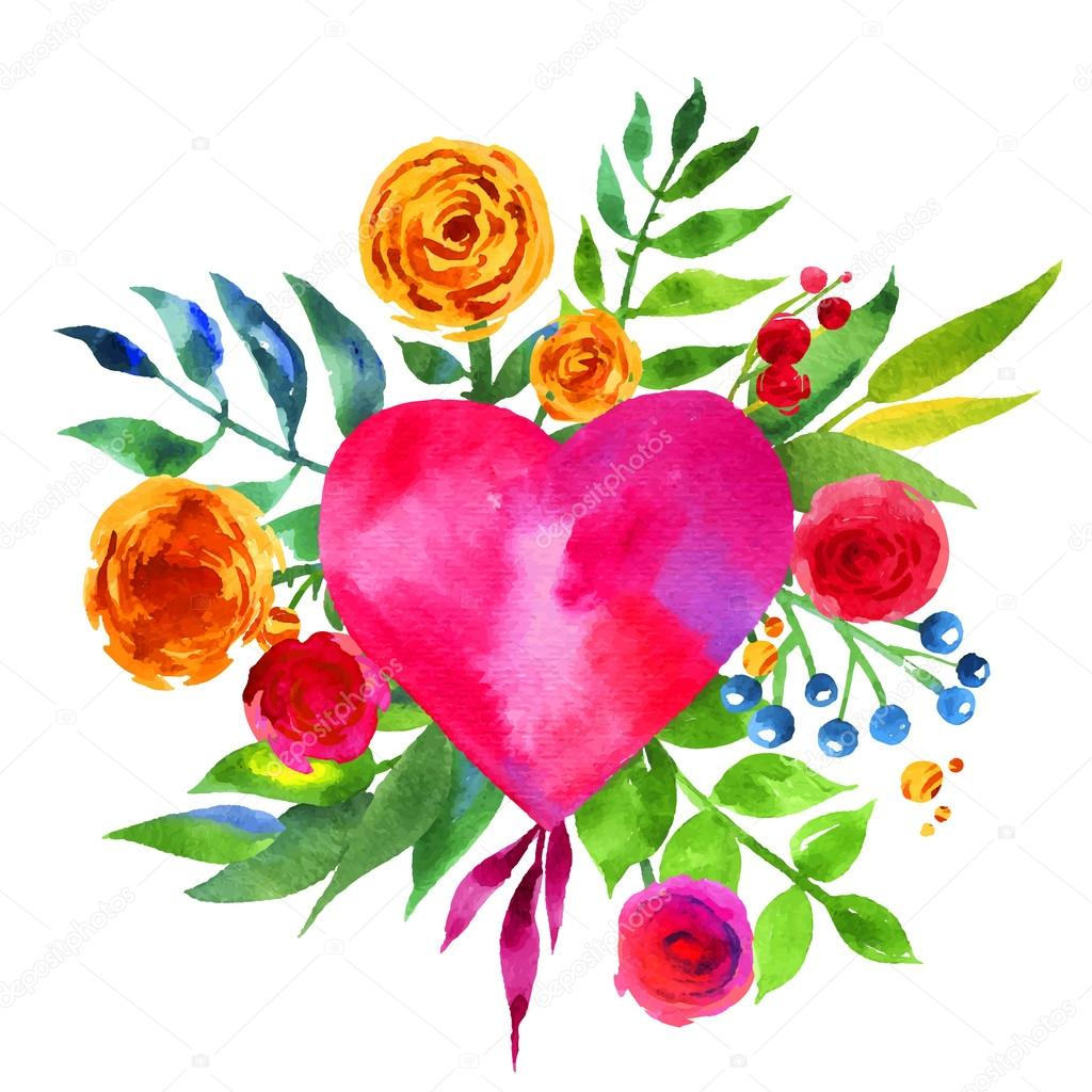 Vintage background with flowers in love and flower heart beautiful vintage background with flowers in love and flower heart beautiful watercolor floral heart love izmirmasajfo