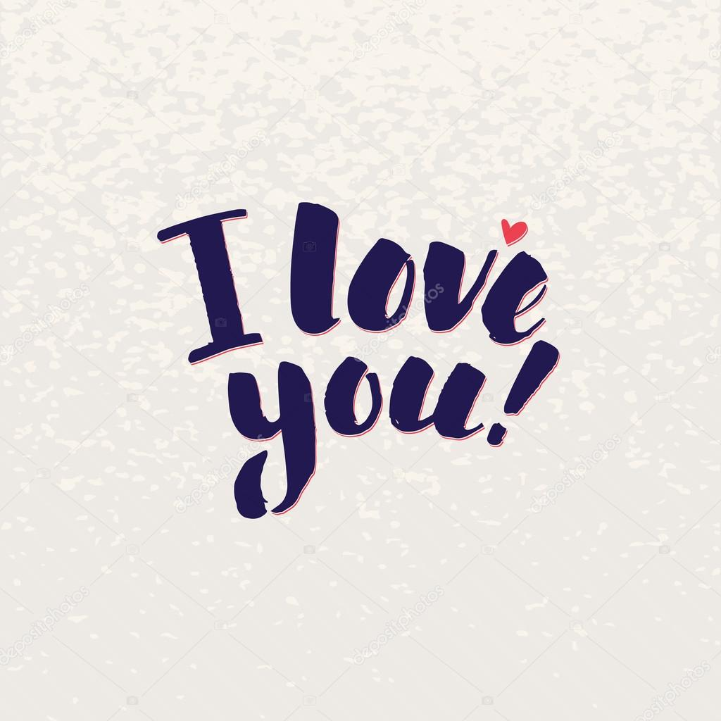i love you lettering handmade vector calligraphy simple stylish