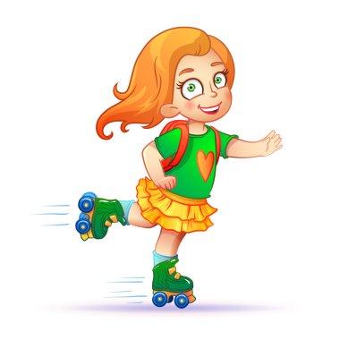 Little girl rides on roller skates.