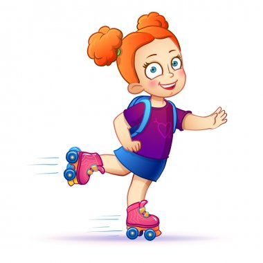 Little girl rides on roller skates.Teen enjoy the speed and freedom.