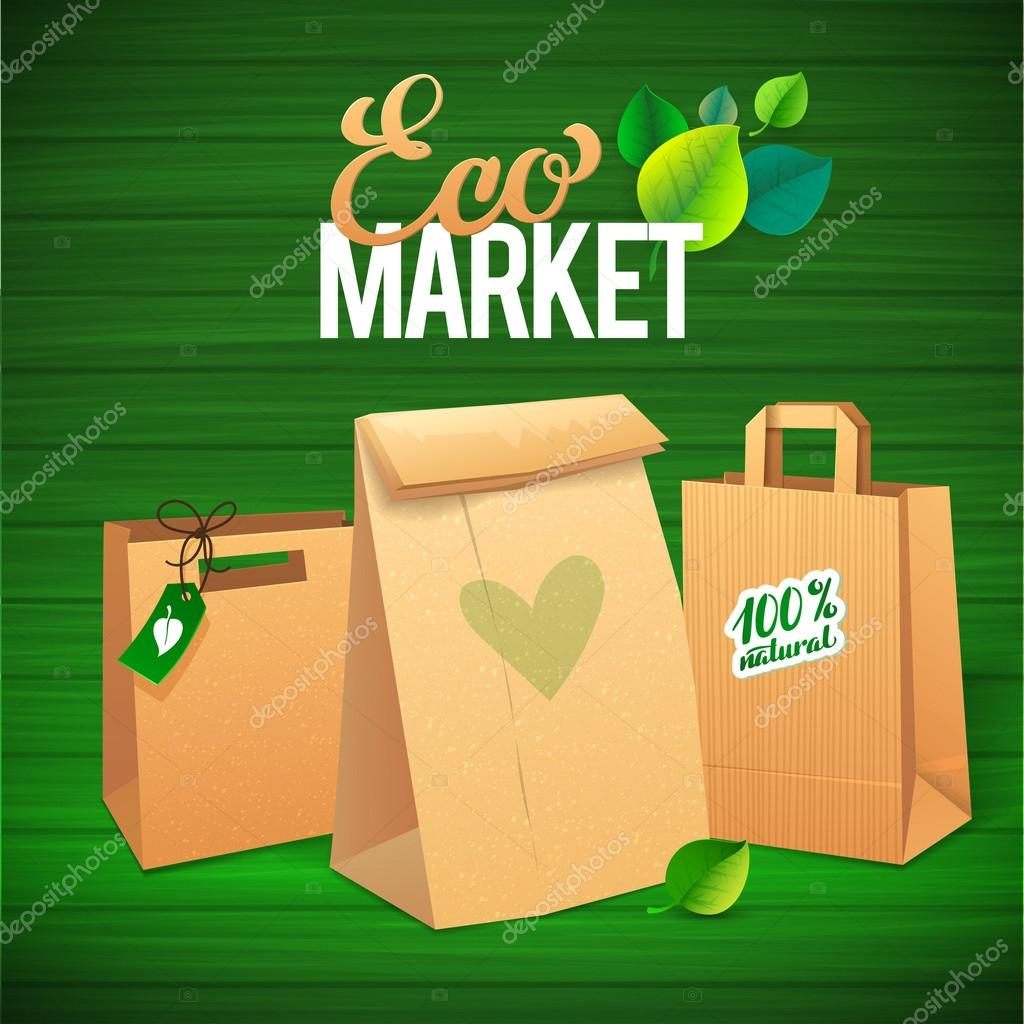 Eco Market Promo.  Paper bags and leaves on green background. sa