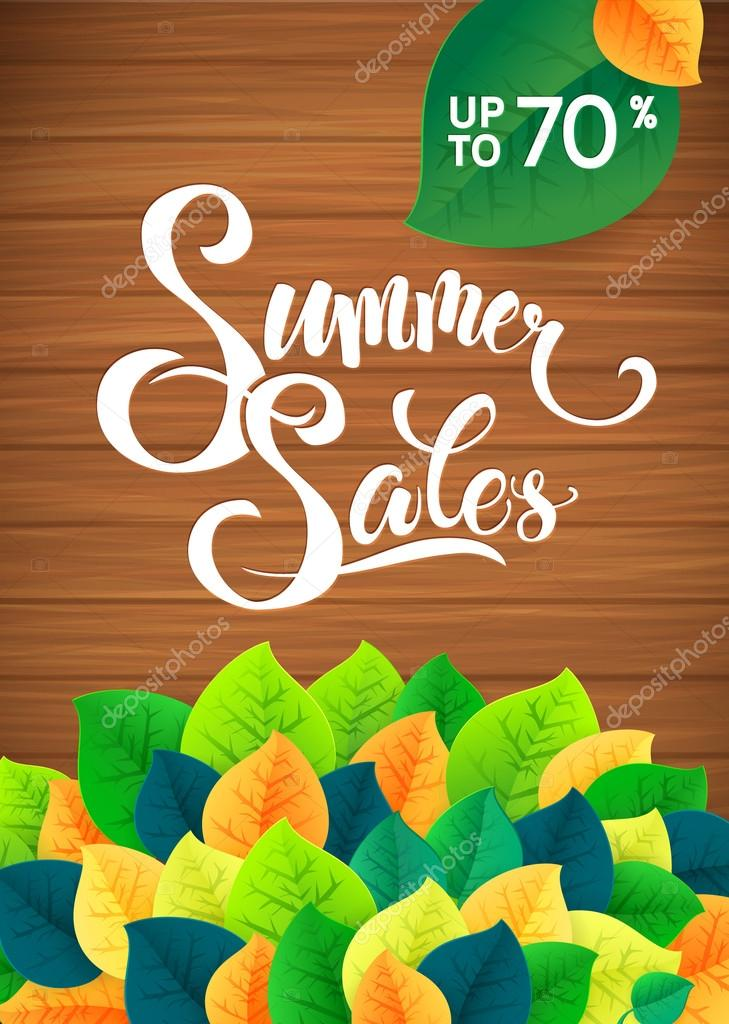 Summer sale leaves promotoin poster. Card template
