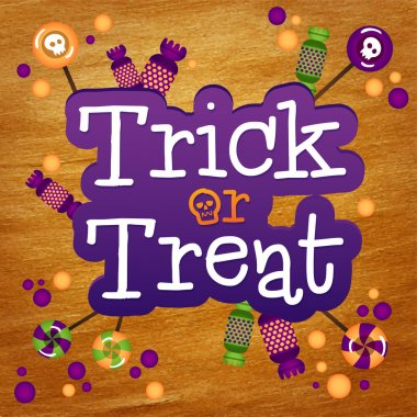 Trick or Treat Happy Halloween Greeting Card Gold Foil Background. Halloween trick or treat candies