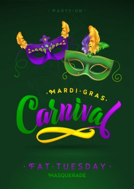 Mardi Gras Carnival Calligraphy Invitation Poster. Vector illustration Template