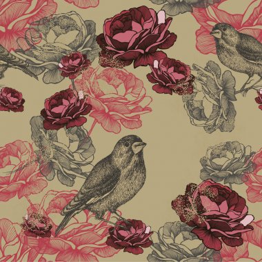 Vector illustration. Seamless floral pattern with roses and bird