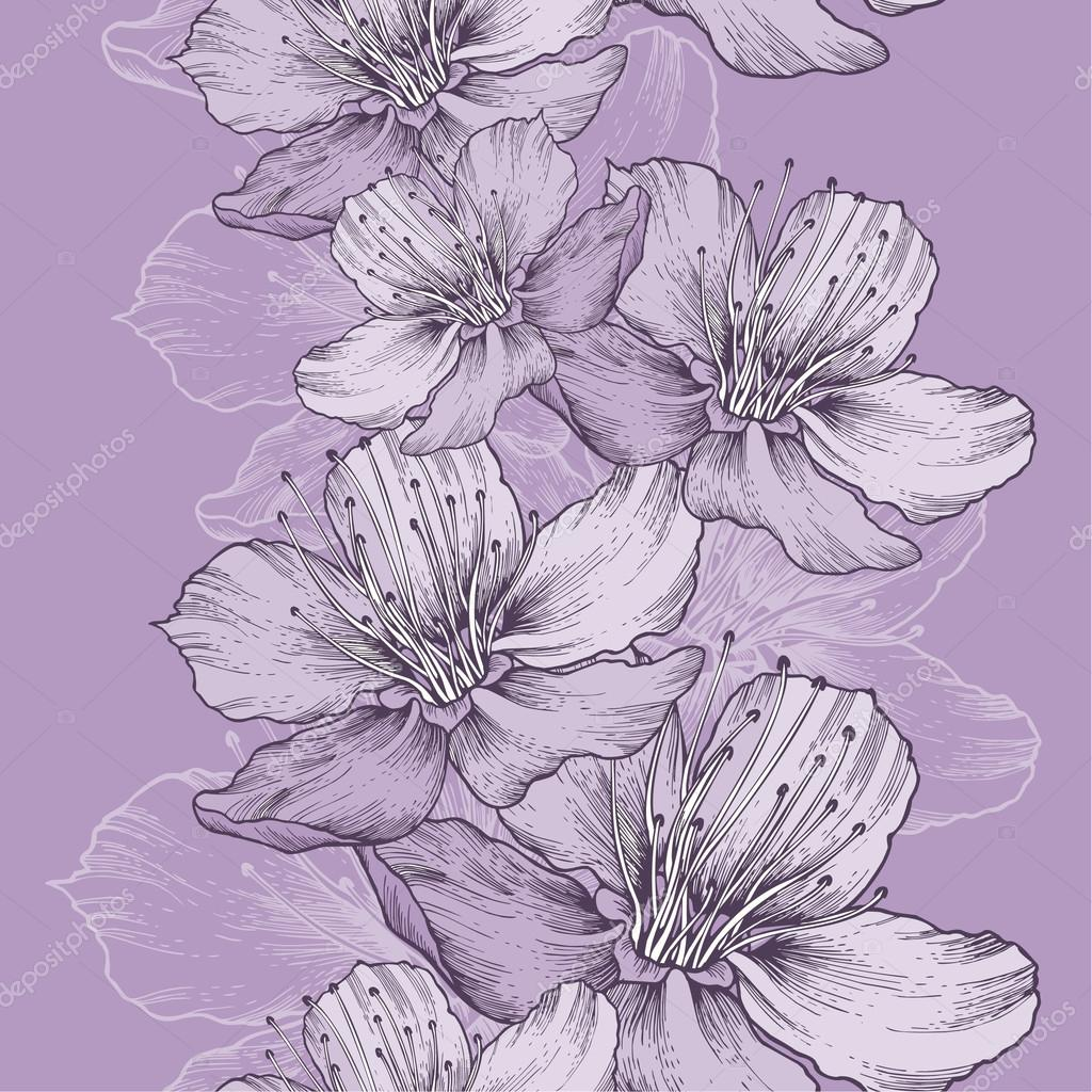 Seamless spring background with flowers of apple, hand-drawing.