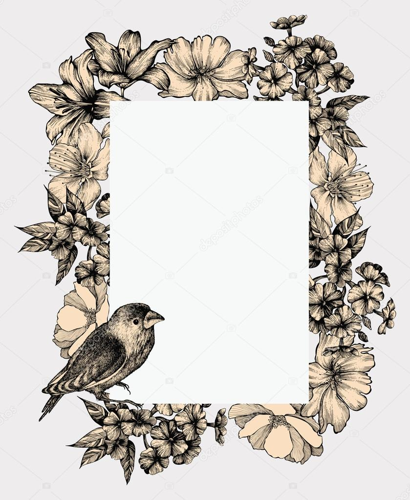 Vector illustration. Vintage frame with blooming flowers and bir