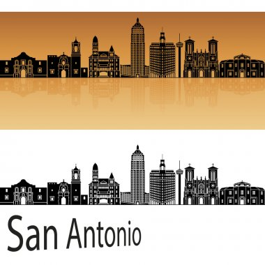 San Antonio skyline in orange