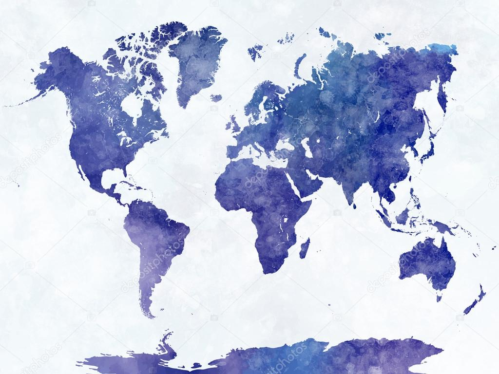 World Map In Watercolor Stock Photo