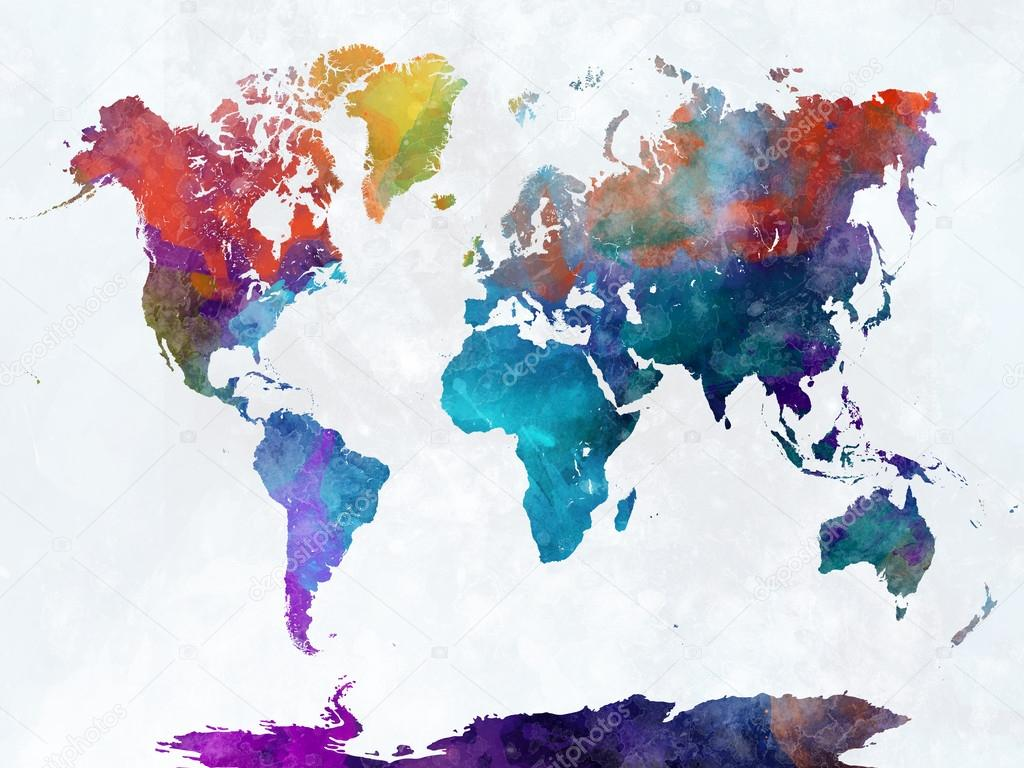 World map in watercolor — Stock Photo © paulrommer #119587964