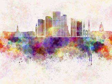 Denver V2 skyline in watercolor background