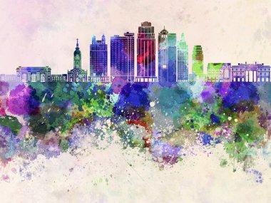Kansas City V2 skyline in watercolor background