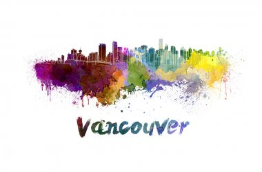 Vancouver skyline in watercolor splatters with clipping path stock vector