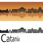 Skyline di Catania in sfondo arancione