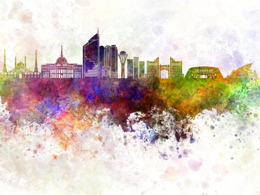 Astana skyline in watercolor background