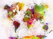 Mapa světa v akvarel