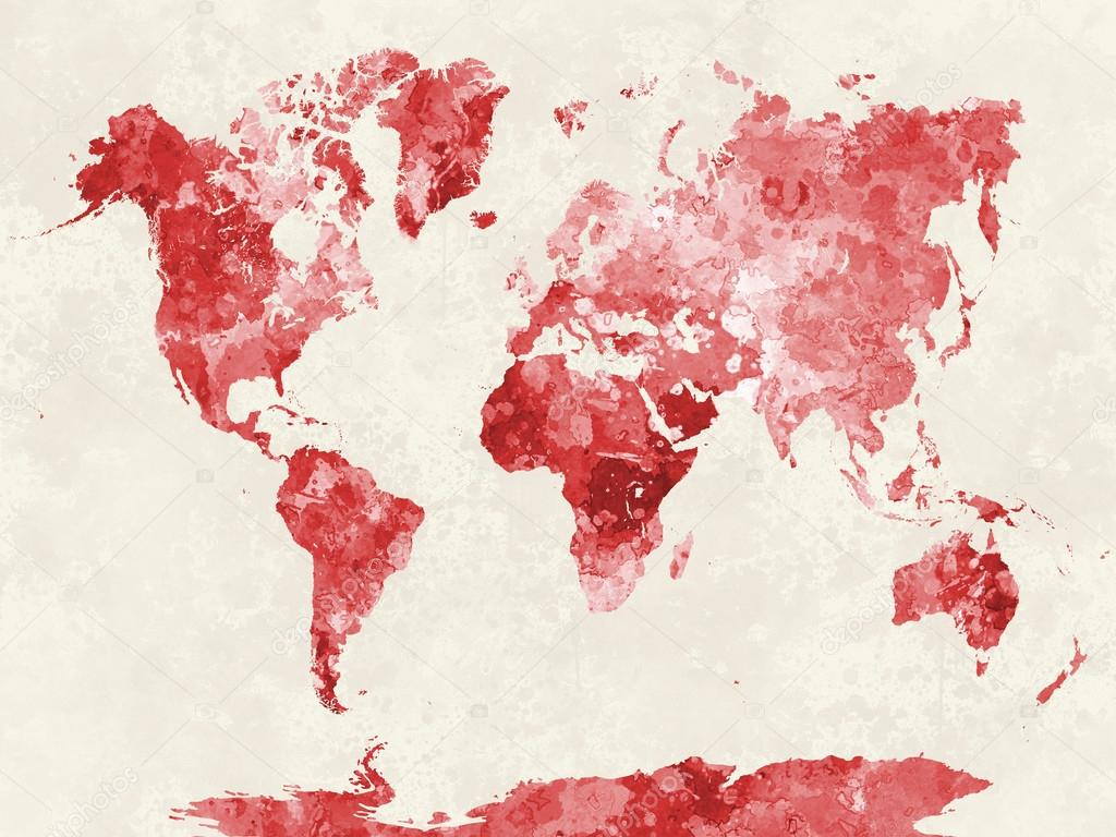 World map in watercolor red foto de stock paulrommer 76706145 world map in watercolor red foto de stock gumiabroncs Image collections
