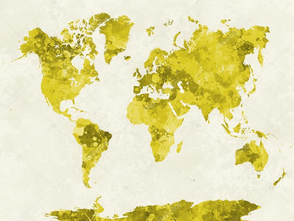 Yellow Watercolor World Map on three-dimensional world map, vintage world map, painting world map, jewelry world map, silver world map, unique world map, sepia world map, artistic world map, illustration world map, colorful world map, flowers world map, creative world map, miniature world map, doodle world map, transparent world map, nature world map, old world map, cute world map, blank world map, abstract world map,