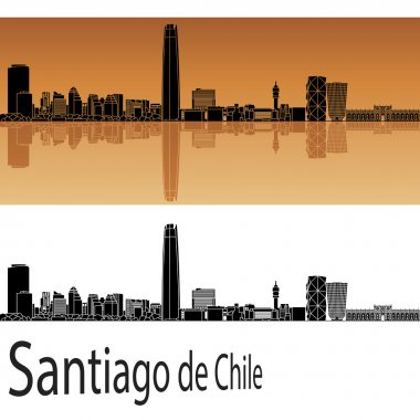 Santiago de Chile skyline in orange background in editable vector file clip art vector