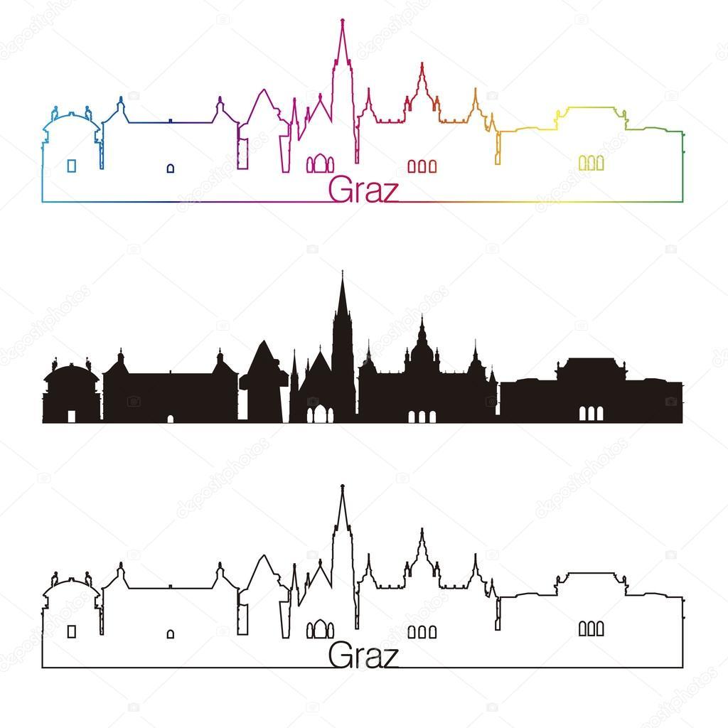 Estilo Lineal Horizonte Graz Con Arco Iris Archivo Imágenes