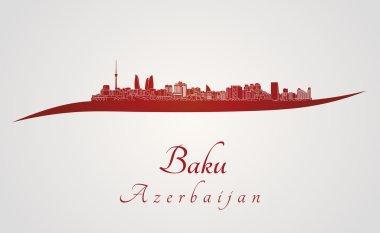 Baku skyline in red