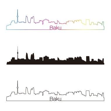 Baku skyline linear style with rainbow