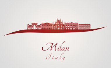 Milan skyline in red