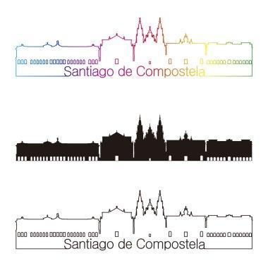 Santiago de Compostela skyline linear style with rainbow in editable vector file clip art vector