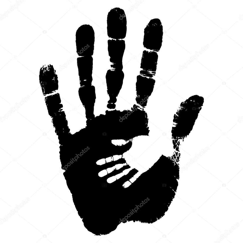 Concept ou main peinture noire cute conceptuel de m re enfant empreinte de main isol sur fond - Peinture main enfant ...