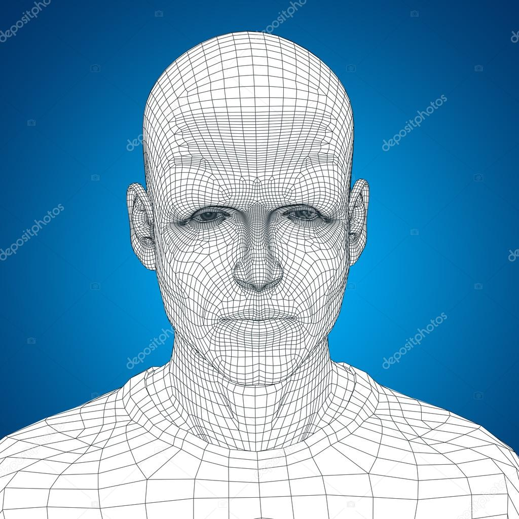 wireframe young human face — Stock Photo © design36 #105212454