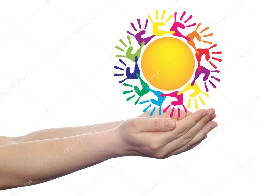 sun with children hand prints