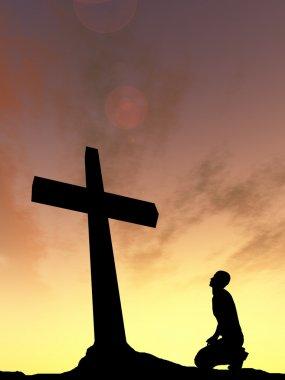 religion symbol and man silhouette