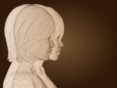 Head made of beige wireframe