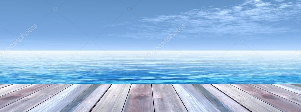 Wooden deck on coast