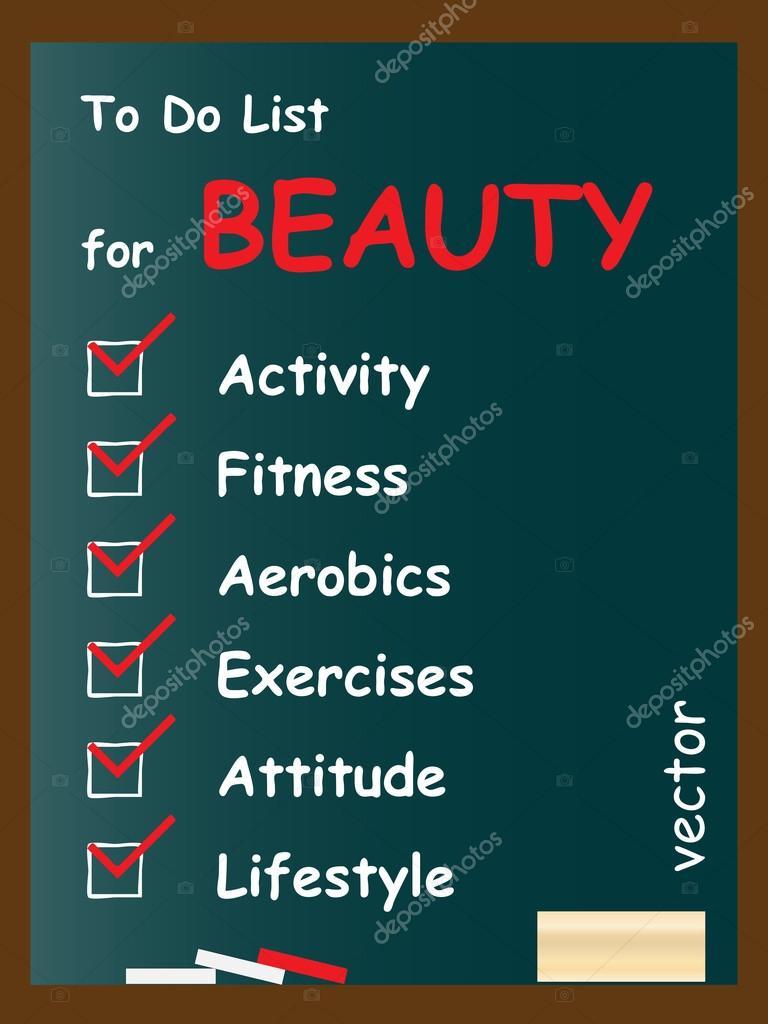 Beauty to do list on blackboard — Stock Vector © design36 #72607815