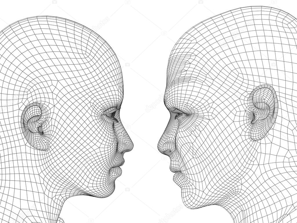 wireframe human male or female heads — Stock Photo © design36 #75395019