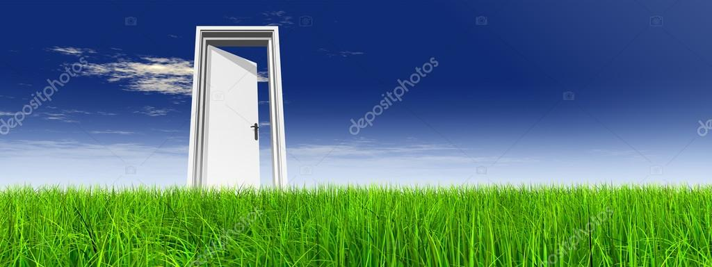 Grass Over A Blue Sky Banner Background A Opened Door At Horizon Stock Photo C Design36 75395449