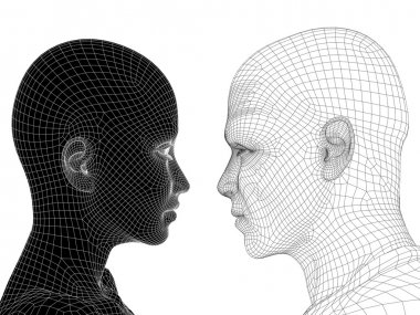 conceptual black and white heads