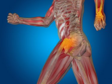 joint or articular pain, ache or injury on blue background