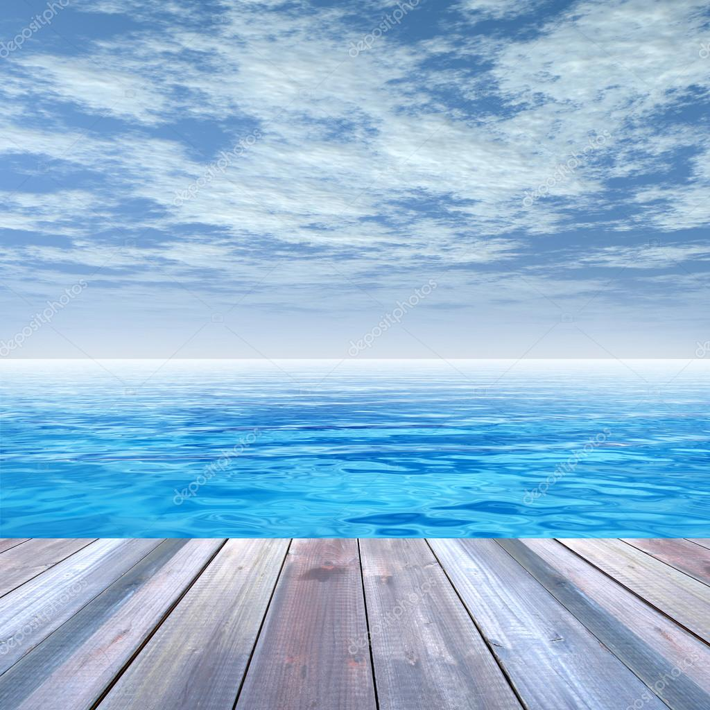 deck on coast of exotic blue sea