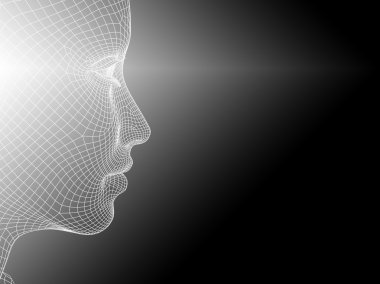Concept or conceptual 3D wireframe young human female or woman face or head on white black background