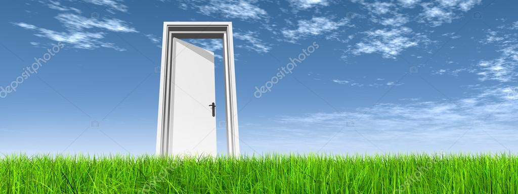 High Resolution Green Fresh And Natural 3d Conceptual Grass Over A Blue Sky Background Banner A Opened Door At Horizon Stock Photo C Design36 94597290